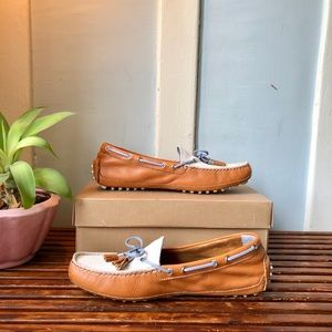 Cole Haan Tan, Ivory & Blue Driver/ Loafer